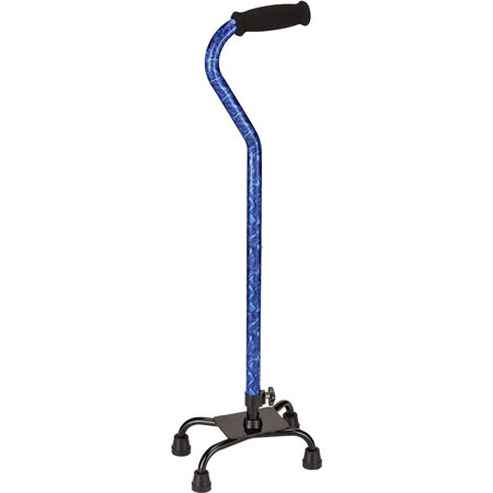 """NOVA Designer Quad Cane, Lightweight Four Legged Cane with Soft Grip Handle, Height (for users 4'11"""" - 6'4"""") and Left or Right Adjustable, Blue.., By NOVA Medical Products - Canes For Sale"""