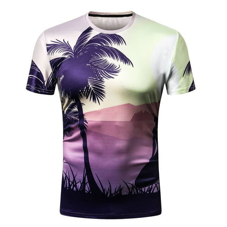 4bb42ac9e Clearance Sales☆ Summer 3D Coconut Tree Printed T-Shirts Men's Slim Fit O  Neck ...