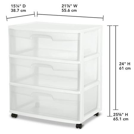 Sterilite Wide 3 Drawer Cart White