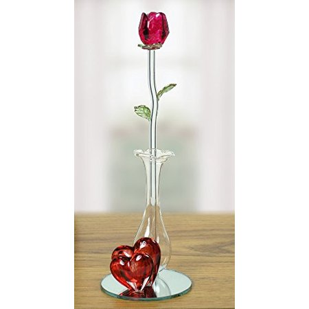 Red Glass Rose In Crystal Vase With Hearts Walmart