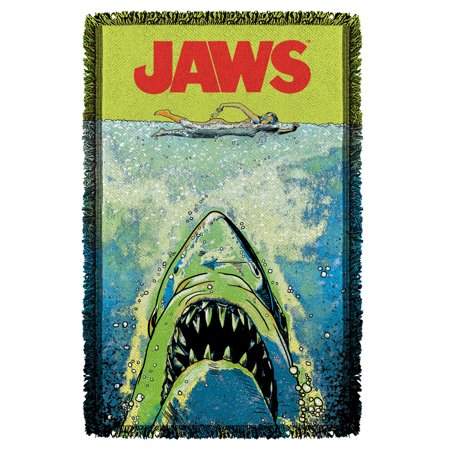 Jaws Attack Woven Throw Blanket White One Size