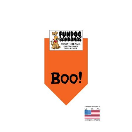 MINI Fun Dog Bandana - Boo! (Halloween) - Miniature Size for Small Dogs under 20 lbs, orange pet scarf](Under 18 Halloween Events)