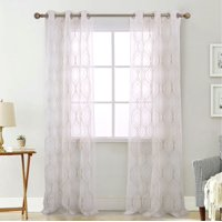 Olivia Gray Brussels Embroidered 38 x 84 in. Grommet Curtain Panel Pair in Linen (Set of 2)