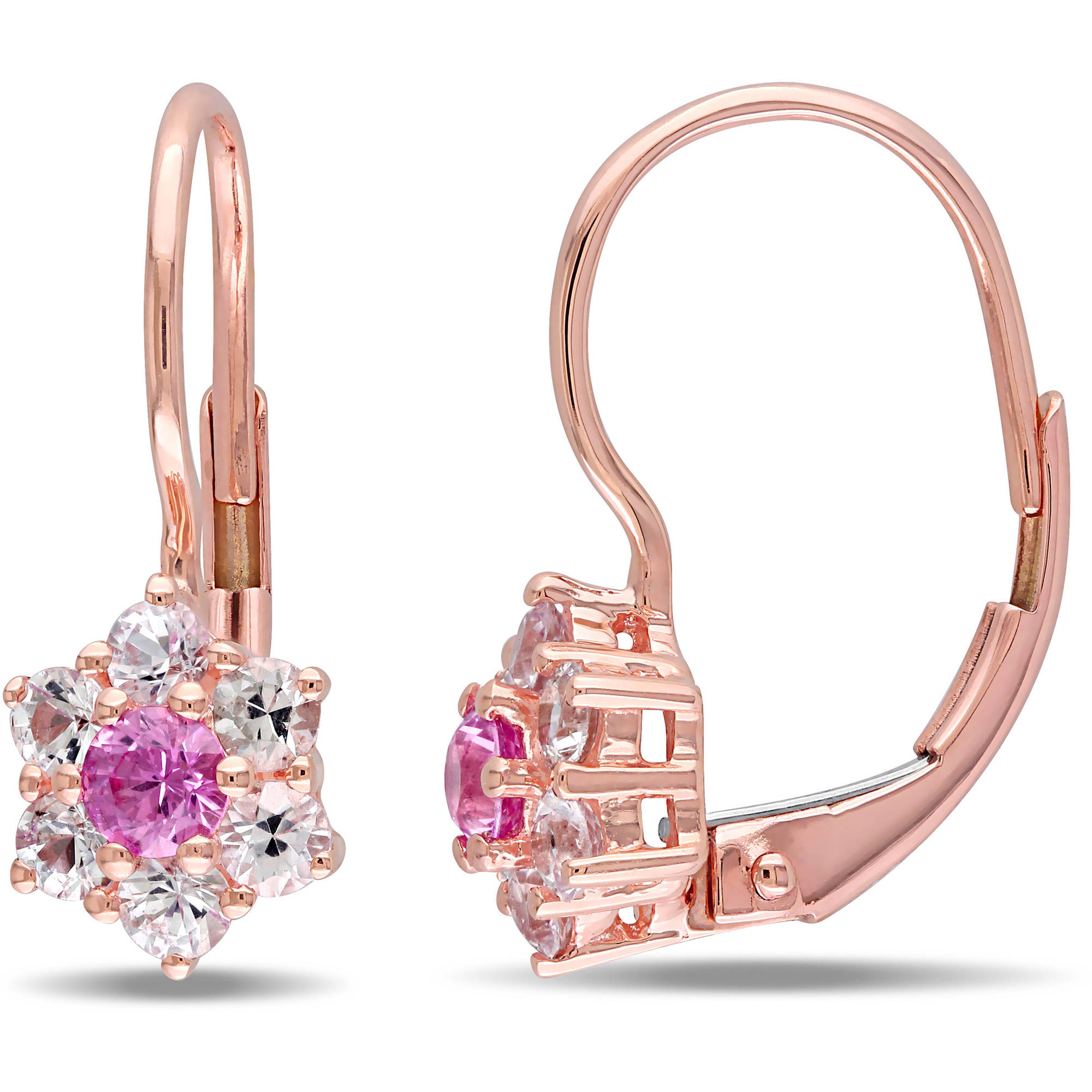 Tangelo 1 Carat T.G.W. Pink and White Sapphire 10kt Rose Gold Flower Halo Leverback Earrings