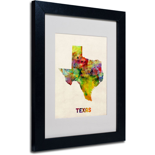 "Trademark Fine Art ""Texas Map"" Matted Framed Art by Michael Tompsett, Black Frame"