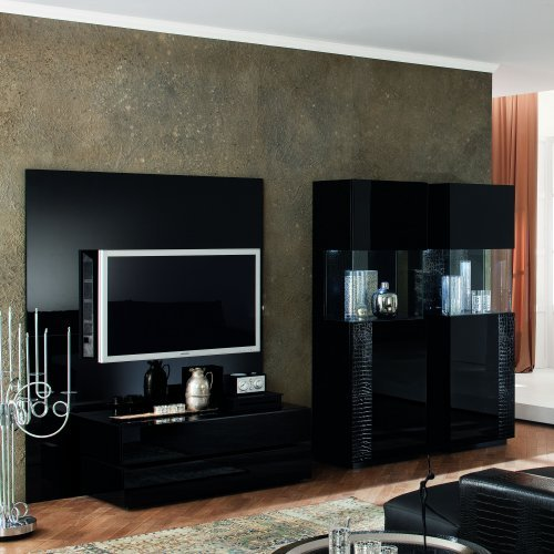 Nightfly Entertainment Center with Optional Piers - Black