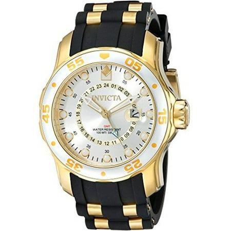 Invicta Men's 6995 Pro Diver Collection GMT Silver Dial Black Polyurethane Watch Invicta Gmt Watch