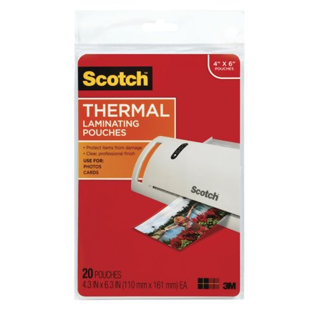 Scotch Premium Thermal Laminating Pouch 20 Pack, 4 x 6 Inch Sheets 100 Hot Laminating Pouches