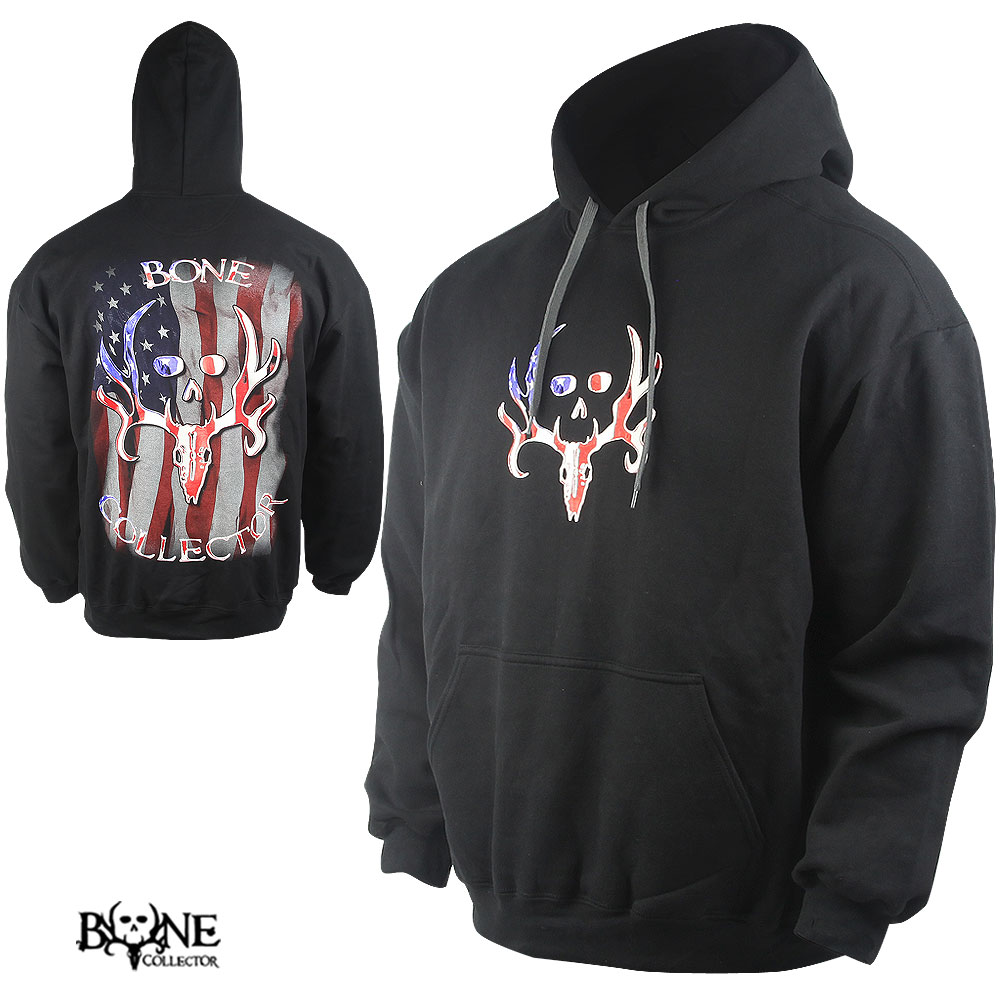 Bone Collector American Flag Hoodie (M)- Black