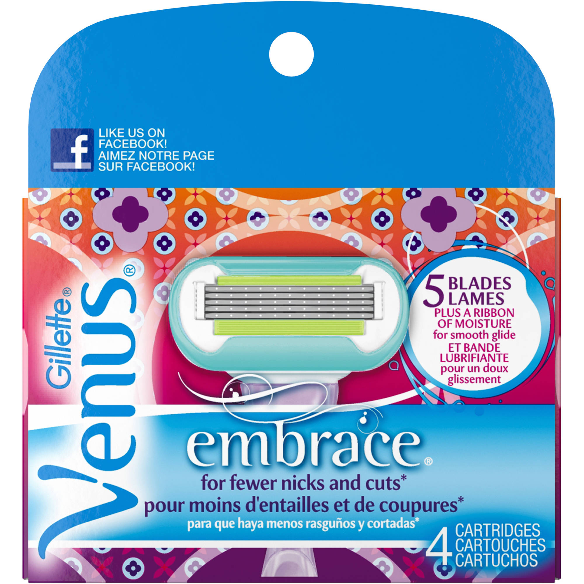 Gillette Venus Embrace Purple Women's Razor Refills, 4 count