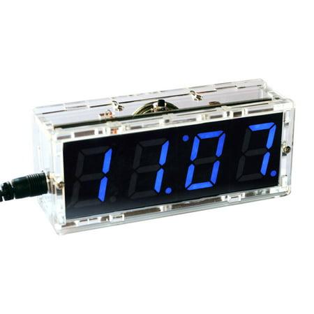 KKmoon 4-digit Digital LED Talking Clock DIY Kit Light Control Temperature Date Time Display Transparent (Ds1302 Rotating Led Electronic Digital Clock Kit Instructions)