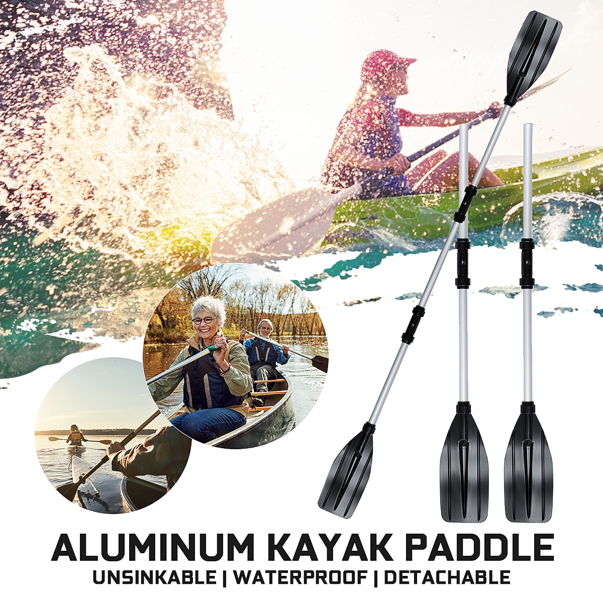 "Pair of 96/"" Kayak Oars Paddle Set Canoe Paddles Detachable Rafting Canoe Paddle"