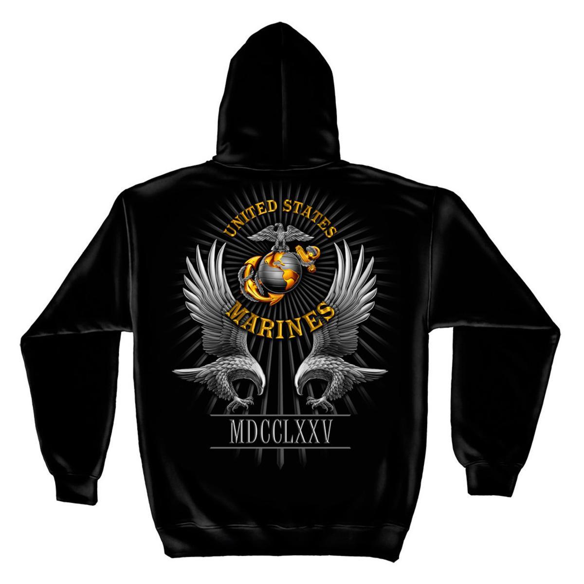 USMC Marine Corps Founded Date 1775 Military Sweatshirt by Erazor Bits, Black