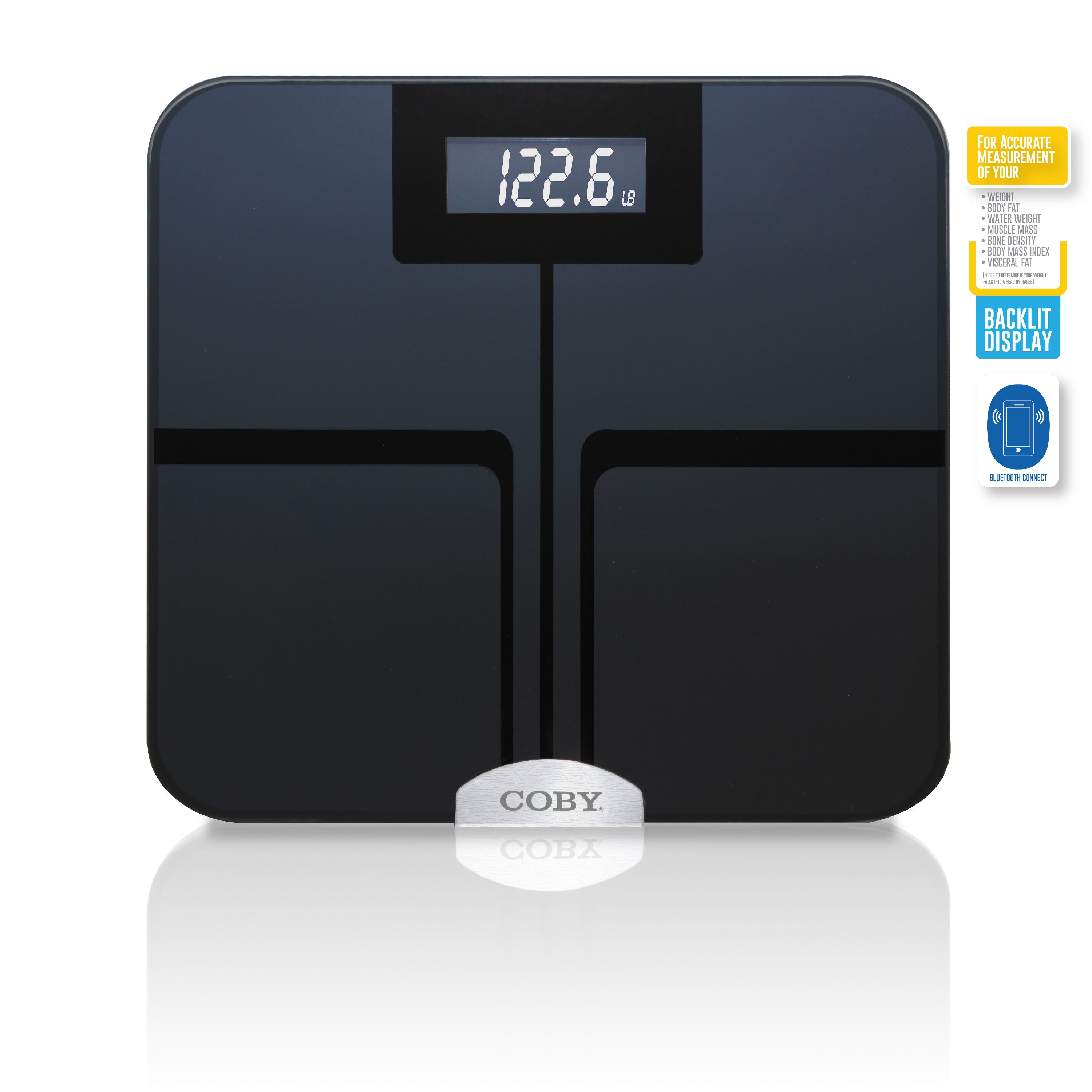 Coby Bluetooth Digital Glass Total Body Fat & Weight Bath Scale with Step-On Technology, Measures Weight, Water, Muscle, Fat, BMI, BMR, Bone, 400 Pounds, Midnight Blue