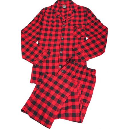 Hanes Big and Tall Mens Flannel Pajama Set Red Buffalo Plaid / XXXXX Mens Tall Flannel Pajamas