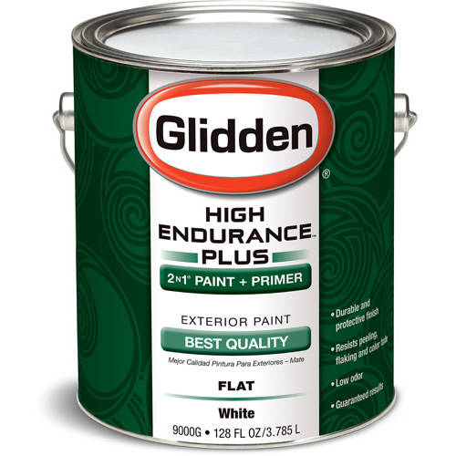 Glidden High Endurance Plus, Exterior Paint, Flat Finish, Ready Mix White, 1 Gallon