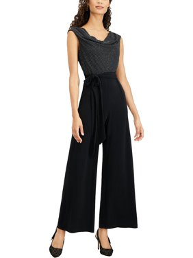Connected Apparel Womens Studded Cowl Neck Jumpsuit