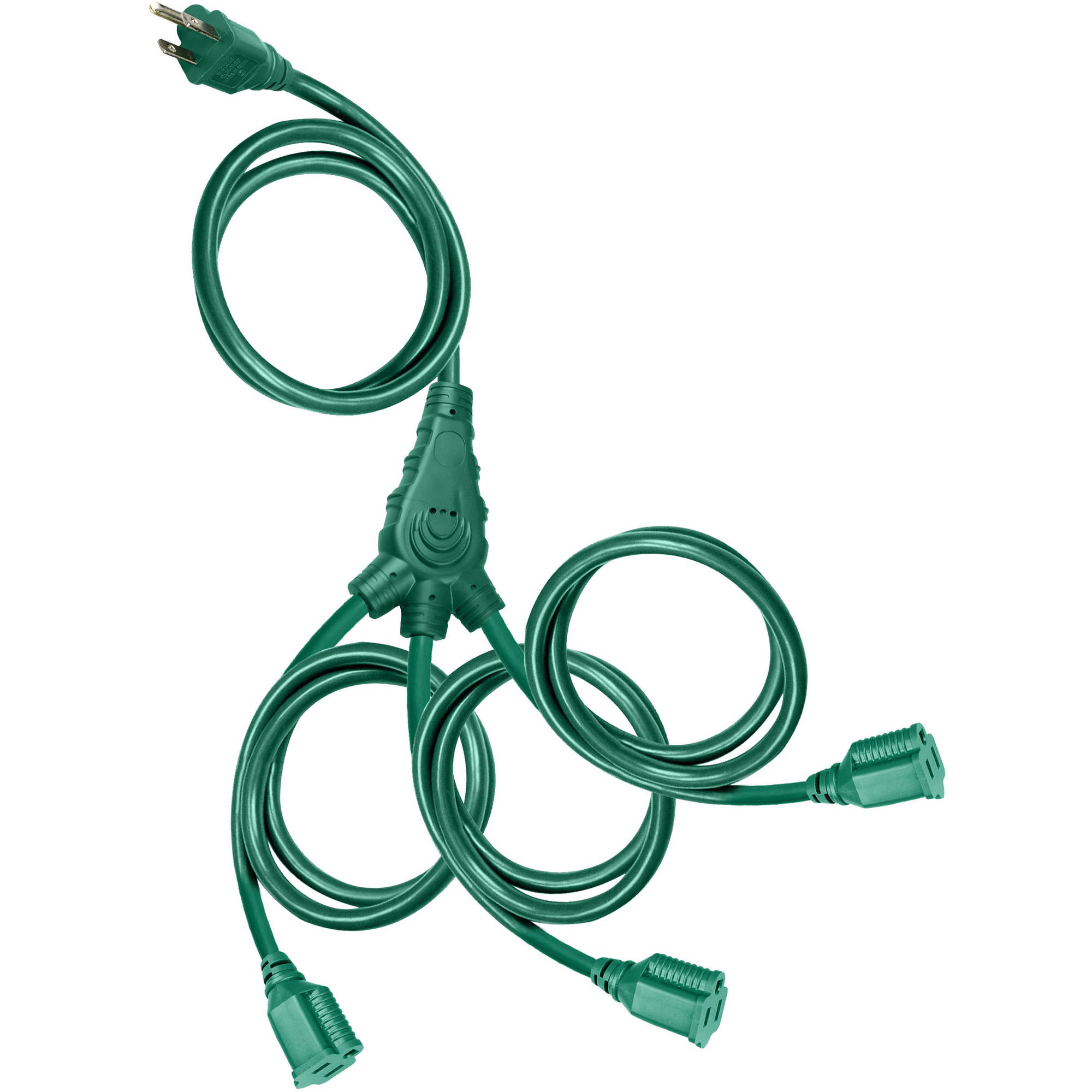 Holiday Time Christmas Lights 25' Cord 3-Outlet Outdoor Multi-Directional Extension Cord