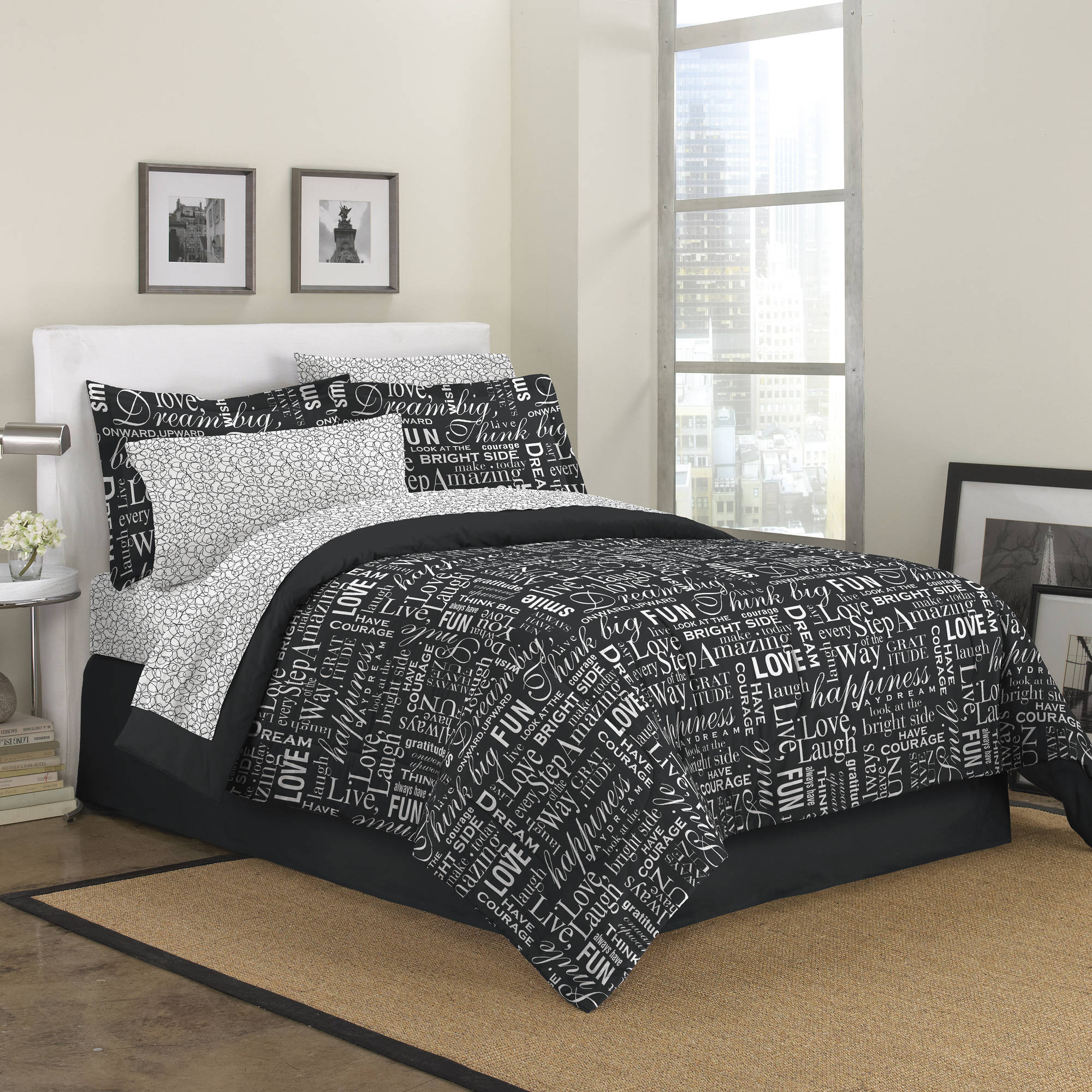 First At Home Live Love Laugh Bed in a Bag Bedding Set, Black