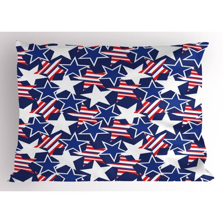 4th of July Pillow Sham Stars and Stripes of Liberty and Freedom Patriotic American Pattern, Decorative Standard Queen Size Printed Pillowcase, 30 X 20 Inches, Royal Blue Red White, by