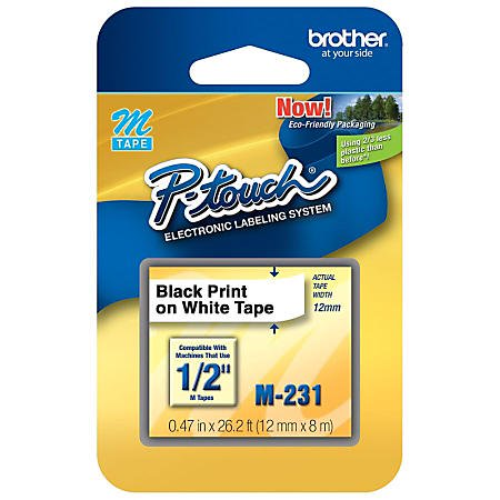 """Brother Genuine M-231 1/2"""" Black on White Tape for P-Touch Labeler, 4 Pack"""