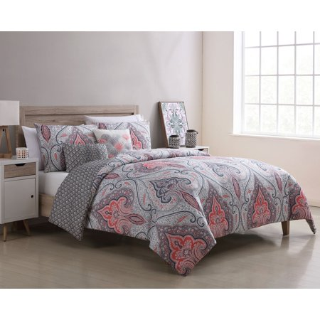 Better Homes & Gardens Full or Queen Medallion Reversible Gray & Coral Comforter Set, 5 Piece ()