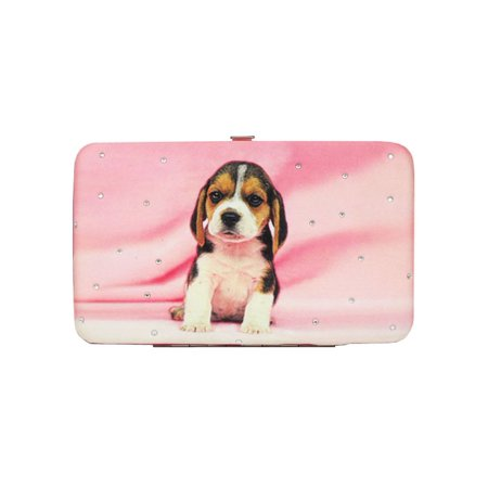 Women Girls Pink Rhinestone Puppy Print Flat Wallet 7.5 inches x 4.5 inches