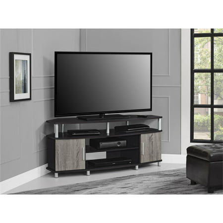 Ameriwood Home Carson Corner TV Stand For TVs Up To 50 Wide Espresso Distressed Gray Oak