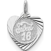 Leslies Fine Jewelry Designer 925 Sterling Silver Sweet Sixteen Heart Disc (14x19mm) Pendant Gift
