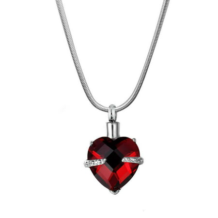 Crystal Heart Keepsake - Anavia Garnet Birthstone Cremation Urn Necklace for Ashes Free Funnel Kit and Jewelry Box