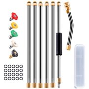 """DecorX Pressure Washer Wand Extension, 6Pcs Stainless Steel Extension Wand 1Pc 30°Degrees Curved Rod Extension 8.1ft Replacement Lance 1/4"""" NPT Quick Connect w/Storage Box 4000PSI"""