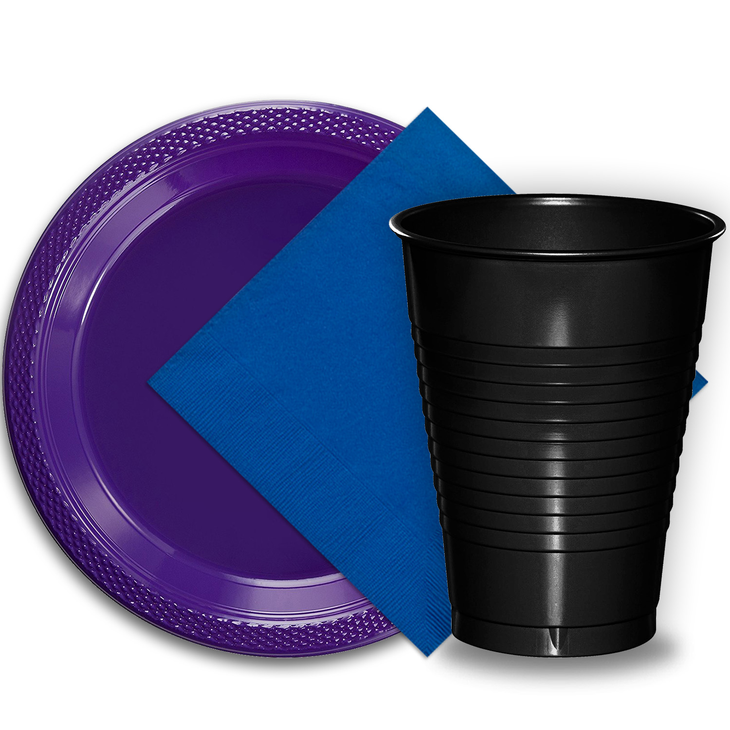 "50 Purple Plastic Plates (9""), 50 Black Plastic Cups (12 oz.), and 50 Dark Blue Paper Napkins, Dazzelling Colored Disposable Party Supplies Tableware Set for Fifty Guests."
