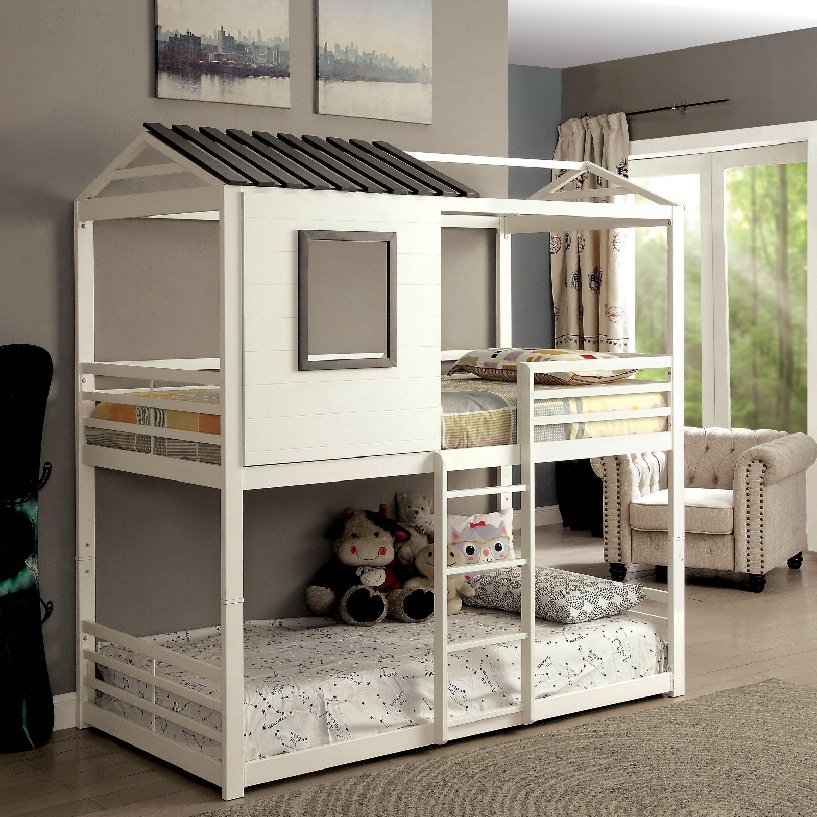 Furniture of America Hansel Playhouse Twin over Twin Bunk Bed