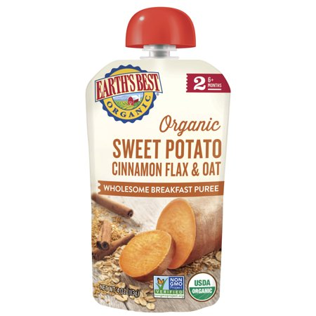 Earth's Best Organic Stage 2, Sweet Potato Cinnamon Flax & Oat, 4 Ounce