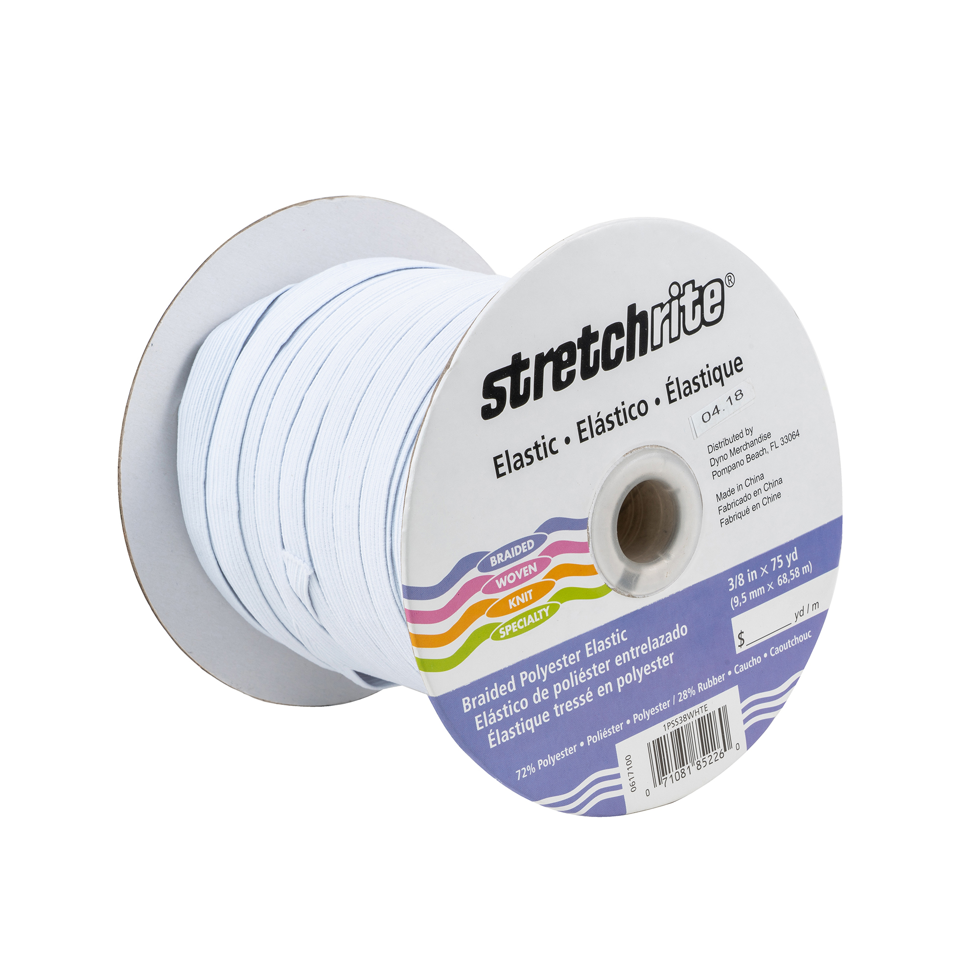"Stetchrite Braided Elastic 3/8"" x 75 yds, White"