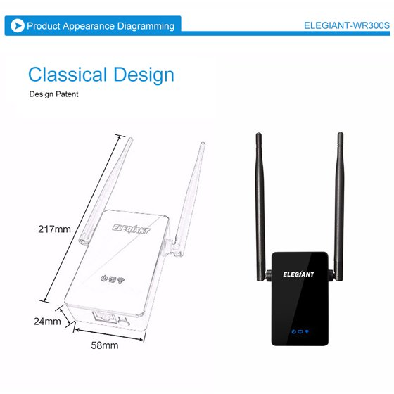 ELEGIANT 300Mbps Wireless Router Wifi Repeater Signal Amplification Through  Walls Enhanced Power Expander with 2 External Antennas and 360 Degree