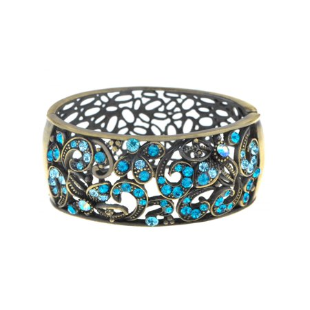 Antique Inspire Brass Vine Floral Blue Zircon Rhinestone Cuff Bangle Bracelet
