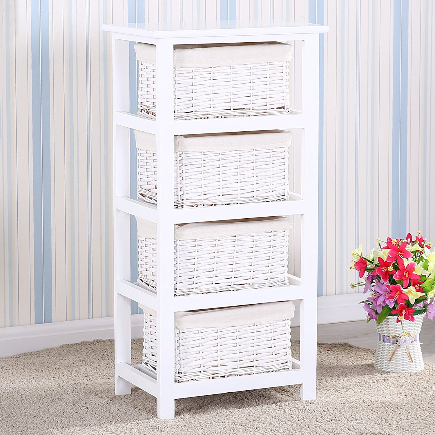 Uenjoy Retro White Nightstand End Side Bedside Table w/4 Wicker Basket Storage Wood