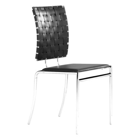 Astounding Modern Contemporary Dining Chair Black Leatherette Chrome Steel Set Of Four Caraccident5 Cool Chair Designs And Ideas Caraccident5Info