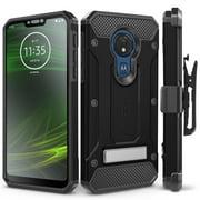 Motorola Moto G7 Power Case, Evocel [Glass Screen Protector] [Belt Clip Holster] [Metal Kickstand] [Full Body] Explorer Series Pro Phone Case for Motorola Moto G7 Power (XT1955), Black