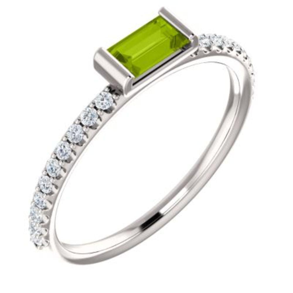 14K White Green Peridot & 1 6 CTW Diamond Stackable Ring by Bonyak Jewelry