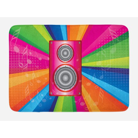 Vintage Rainbow Bath Mat, Discotheque Pop Party of the 60s 70s Theme Musical Notes and Pink Stereo, Non-Slip Plush Mat Bathroom Kitchen Laundry Room Decor, 29.5 X 17.5 Inches, Multicolor, Ambesonne (Themes Of The 70s)