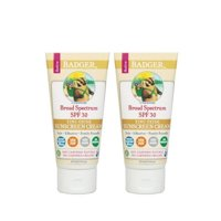 2 Pack Badger Organic Natural SPF 30 Sunscreen Cream Unscented 2.9 Oz Each