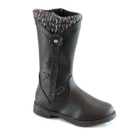 Bambi Girls Black Flower Knit Side Zipper Boots