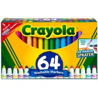Crayola Washable Markers Set, Broad Line, Coloring Supplies, 64 Count