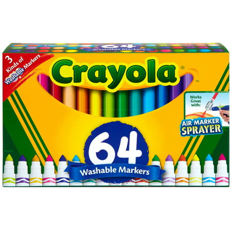Crayola Washable Markers Set, Broad Line, Coloring Supplies, 64 Count (Crayola Gel Markers)