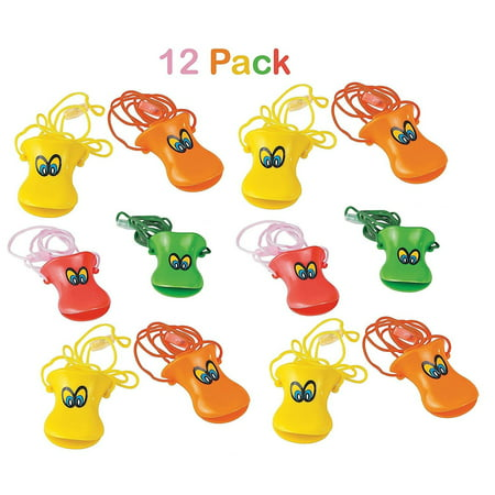 "Pack Of 12 Plastic Duck Beak Whistles With Nylon Cord, Whistle Is 3"", Cord Is 26"", Assorted Colors - Whistle Noise Makers Necklaces - For Kids Great Party Favors, Fun, - Duck Noise Maker"
