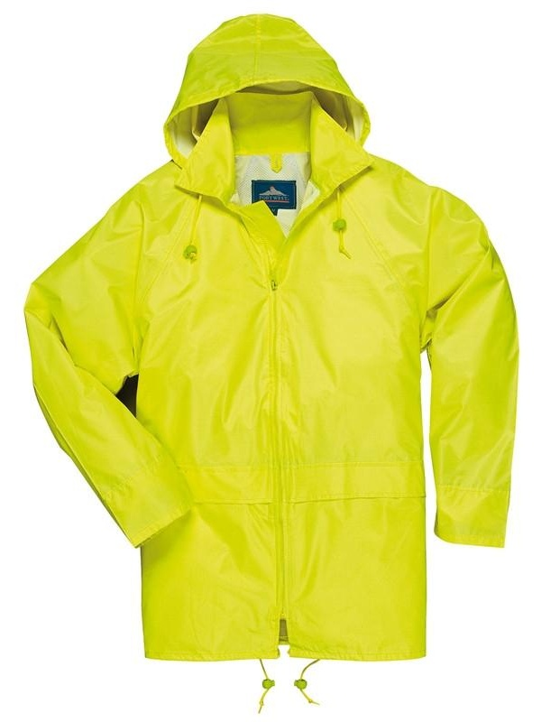 Portwest Yellow Classic Rain Coat with Attached Hood