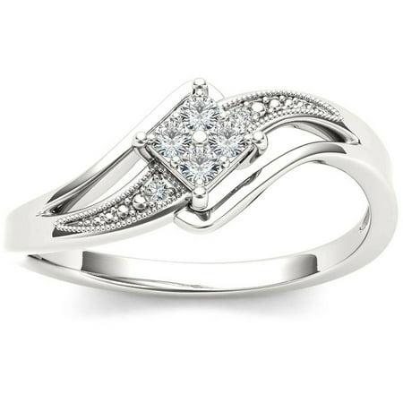 1/10 Carat T.W. Diamond Split Shank Bypass 10kt White Gold Engagement (Brass Engagement Ring)