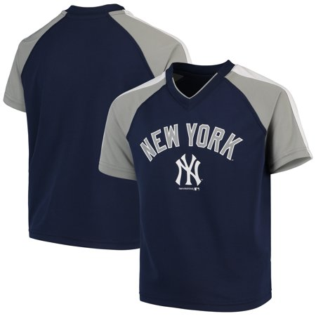 - Youth Navy New York Yankees Poly Mesh Raglan V-Neck T-Shirt